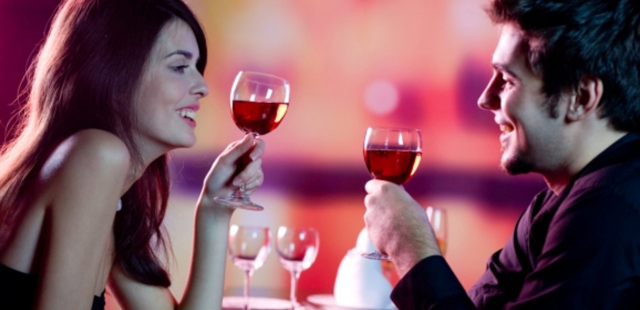 Couple on a date drinking wine