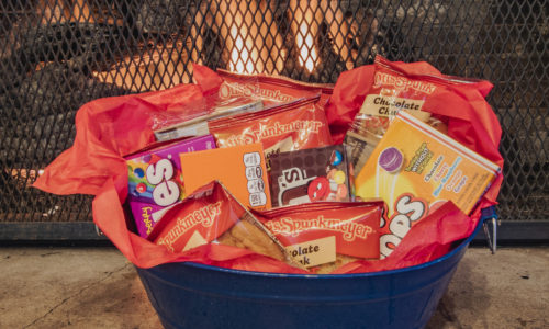 Lots of snacks in a basket