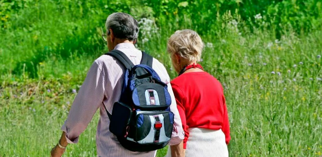 Two people taking a hike